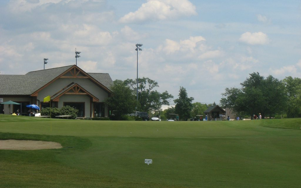 View of the clubhouse from the driving range.