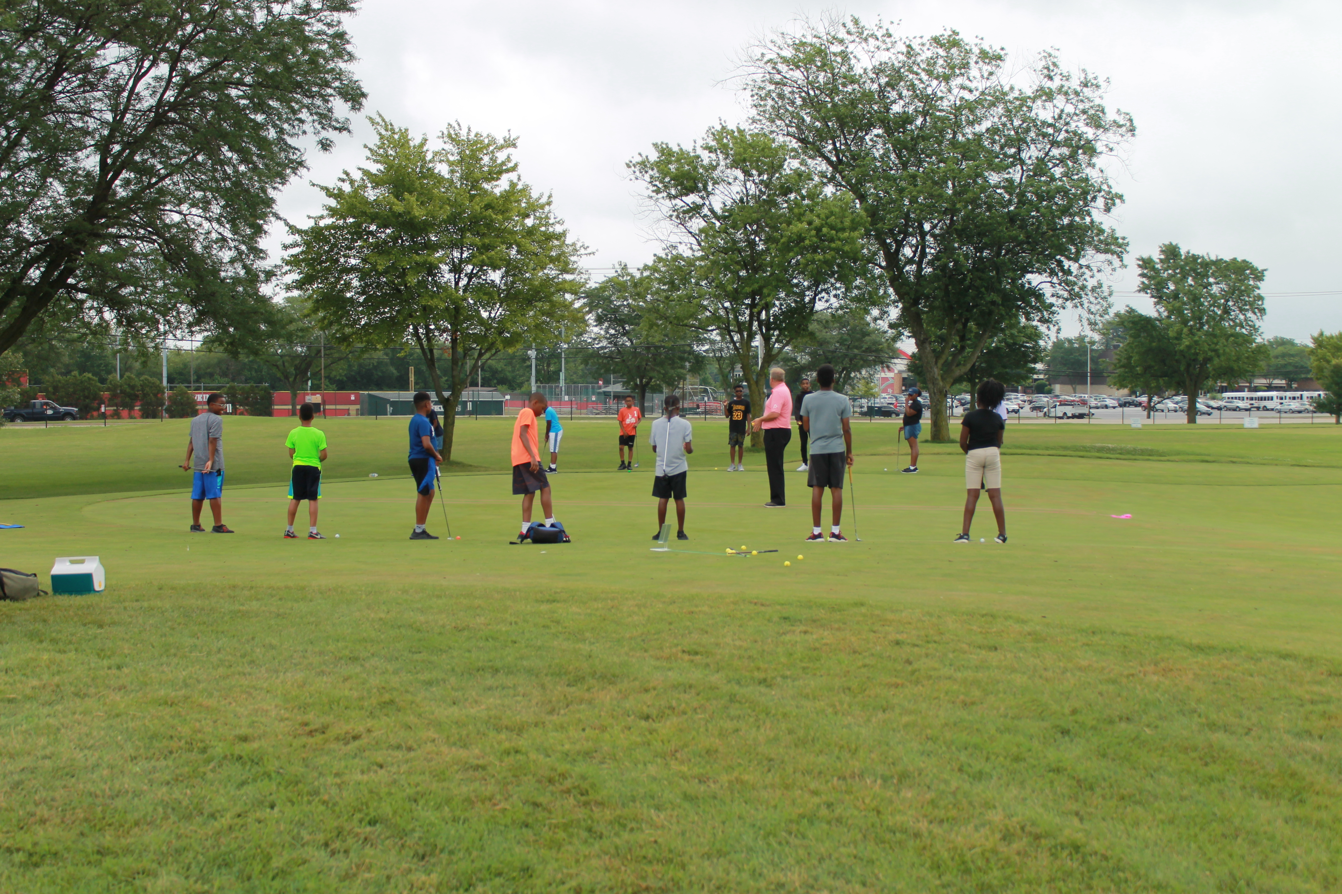 Junior golfers learning the game of golf from Coyote Run's golf pro.